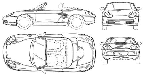Чертёж (схема) авто Porsche авто Boxster.