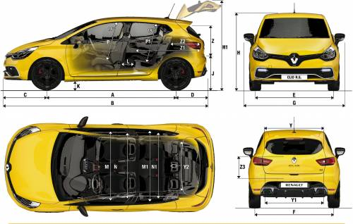 the blueprints cars renault renault clio 4 rs 2013. Black Bedroom Furniture Sets. Home Design Ideas