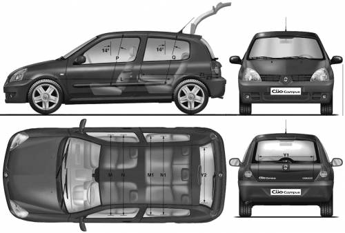 the blueprints cars renault renault clio ii 3 door 2009. Black Bedroom Furniture Sets. Home Design Ideas