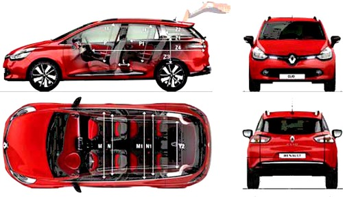 the blueprints cars renault renault clio iv estate 2014. Black Bedroom Furniture Sets. Home Design Ideas