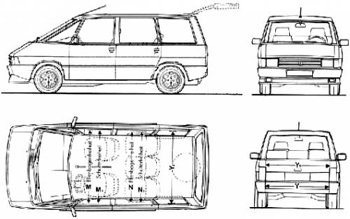 the blueprints cars renault renault espace i 1984. Black Bedroom Furniture Sets. Home Design Ideas