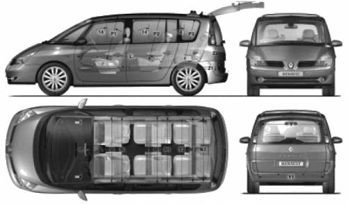 the blueprints cars renault renault espace iv 2009. Black Bedroom Furniture Sets. Home Design Ideas