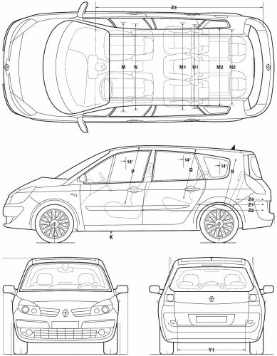 the blueprints cars renault renault grand scenic 2005. Black Bedroom Furniture Sets. Home Design Ideas