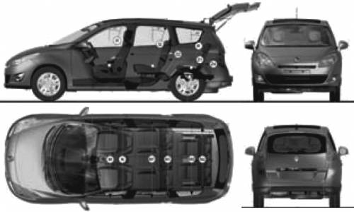the blueprints cars renault renault grand scenic 2009. Black Bedroom Furniture Sets. Home Design Ideas