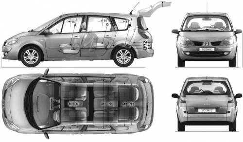 the blueprints cars renault renault grand scenic ii 2009. Black Bedroom Furniture Sets. Home Design Ideas