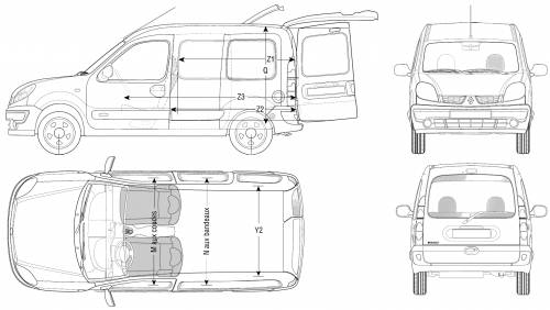 the blueprints cars renault renault kangoo 2006. Black Bedroom Furniture Sets. Home Design Ideas