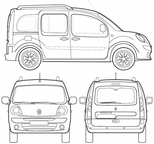 the blueprints cars renault renault kangoo 2009. Black Bedroom Furniture Sets. Home Design Ideas