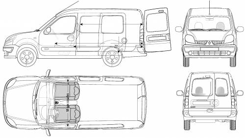 the blueprints cars renault renault kangoo maxi 2006. Black Bedroom Furniture Sets. Home Design Ideas