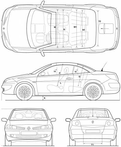 blueprints cars renault renault megane coupe 2005. Black Bedroom Furniture Sets. Home Design Ideas