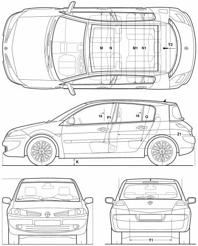 the blueprints cars renault renault megane hatchback 2005. Black Bedroom Furniture Sets. Home Design Ideas