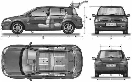 the blueprints cars renault renault megane ii 5 door 2007. Black Bedroom Furniture Sets. Home Design Ideas