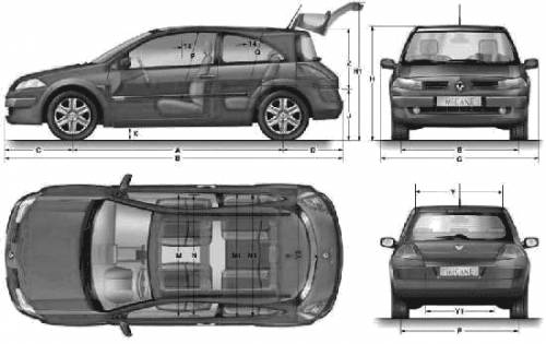 the blueprints cars renault renault megane ii coupe 2007. Black Bedroom Furniture Sets. Home Design Ideas