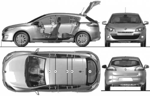 blueprints cars renault renault megane iii 5 door 2009. Black Bedroom Furniture Sets. Home Design Ideas
