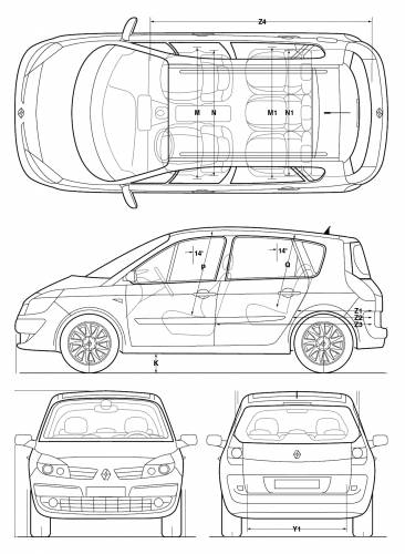 the blueprints cars renault renault scenic 2005. Black Bedroom Furniture Sets. Home Design Ideas