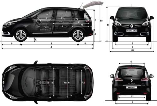 blueprints cars renault renault scenic xmod 2013. Black Bedroom Furniture Sets. Home Design Ideas
