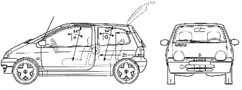 the blueprints cars renault renault twingo 2005. Black Bedroom Furniture Sets. Home Design Ideas