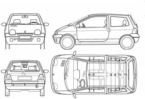 blueprints cars renault renault twingo 2006. Black Bedroom Furniture Sets. Home Design Ideas