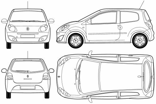 the blueprints voitures renault renault twingo ii 2007. Black Bedroom Furniture Sets. Home Design Ideas
