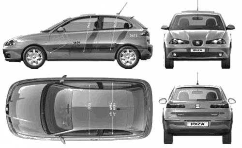 the blueprints cars seat seat ibiza 3 door 2005. Black Bedroom Furniture Sets. Home Design Ideas