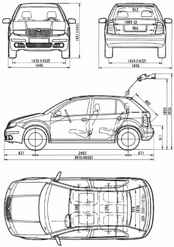 blueprints cars skoda skoda fabia hatch 2007. Black Bedroom Furniture Sets. Home Design Ideas
