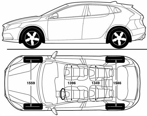 the blueprints cars volvo volvo v40 2012. Black Bedroom Furniture Sets. Home Design Ideas