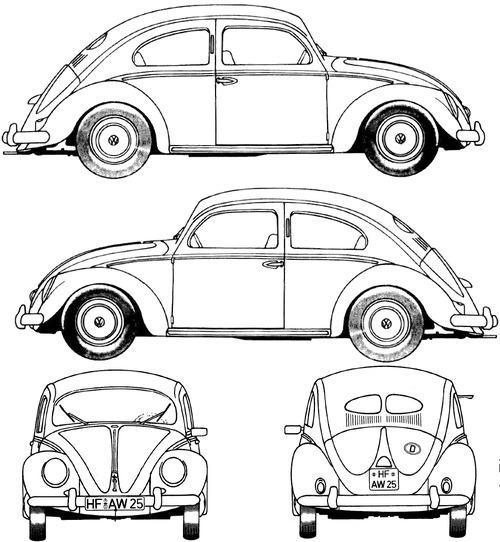 Volkswagen Line Drawing Volkswagen Beetle 1200 1952