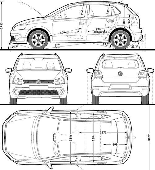 Blueprints Cars Volkswagen Volkswagen Crosspolo 2014