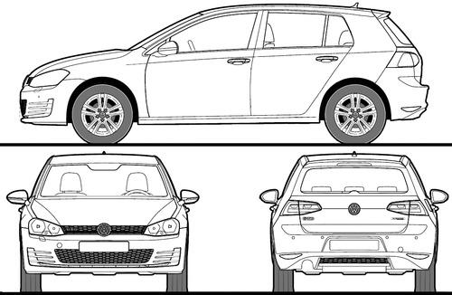 the blueprints cars volkswagen volkswagen golf vii gti 2014. Black Bedroom Furniture Sets. Home Design Ideas
