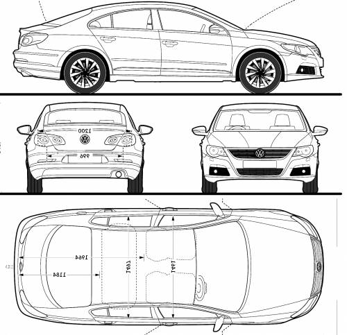 the blueprints cars volkswagen volkswagen passat cc 2009. Black Bedroom Furniture Sets. Home Design Ideas