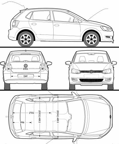 the blueprints cars volkswagen volkswagen polo 5 door 2009. Black Bedroom Furniture Sets. Home Design Ideas