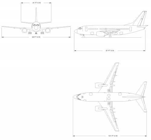 Blueprints Modern Airplanes Boeing Boeing 737 500
