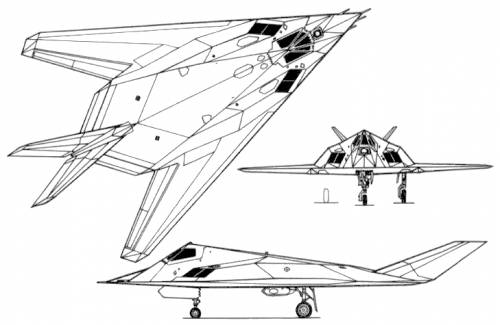 F 117 Stealth Fighter Drawing Blueprints >...