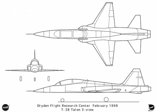 the blueprints modern airplanes northrop northrop t 38 talon. Black Bedroom Furniture Sets. Home Design Ideas
