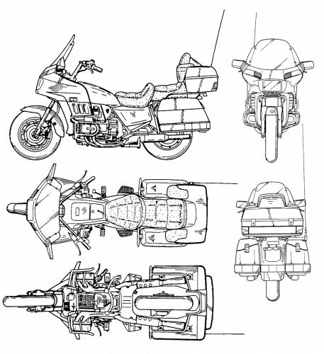 Goldwing Motorcycles Line Drawings
