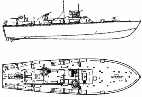 Hand drawn from a model kit of PT 107
