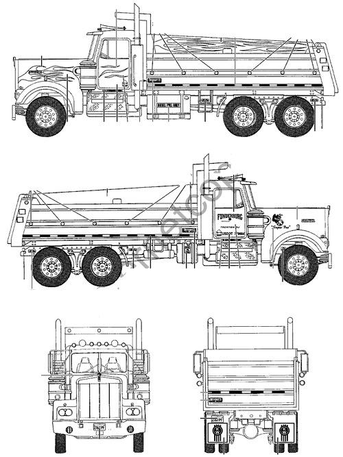 blueprints trucks kenworth kenworth w900 dump truck. Black Bedroom Furniture Sets. Home Design Ideas