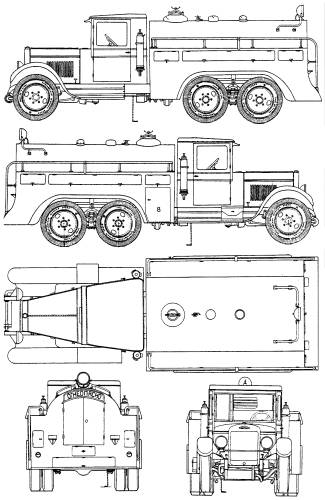 blueprints trucks zis zis 6 bz 35 tanker 1944. Black Bedroom Furniture Sets. Home Design Ideas