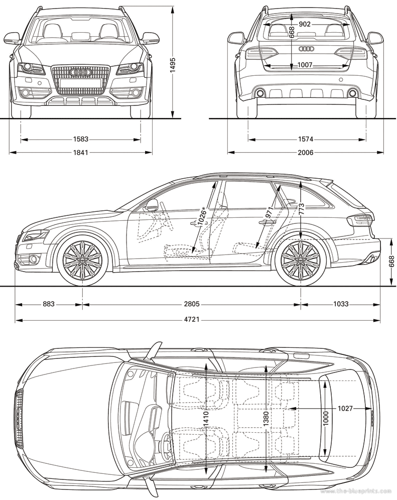 the blueprints cars audi audi a4 allroad quattro 2010. Black Bedroom Furniture Sets. Home Design Ideas