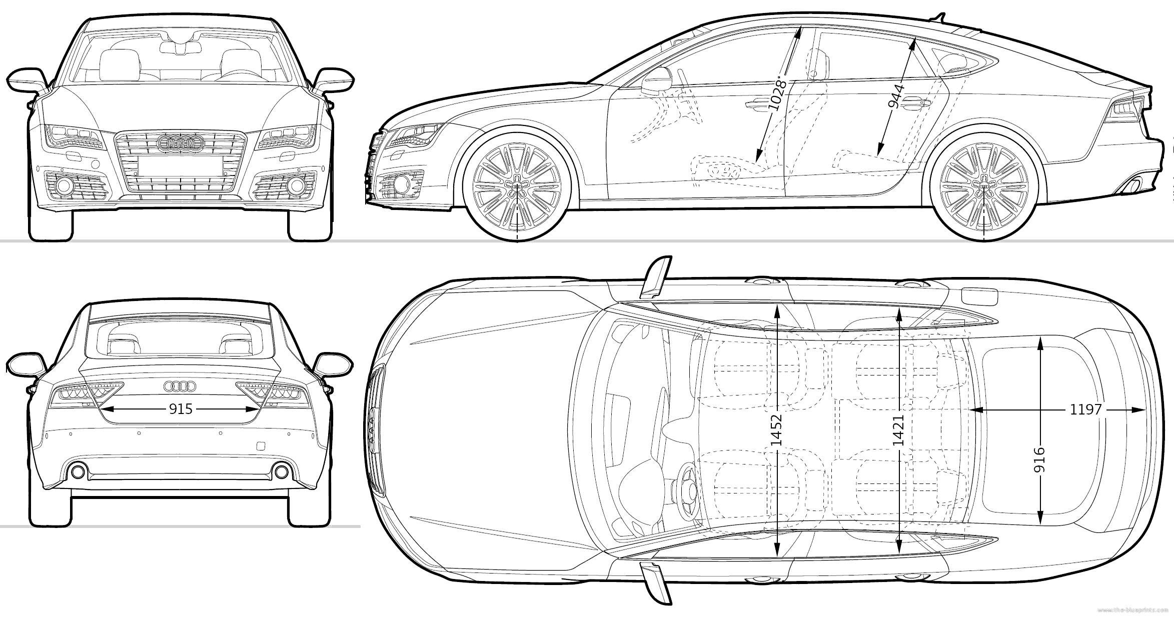 The-Blueprints.com - Blueprints > Cars > Audi > Audi A7 Sportback ...