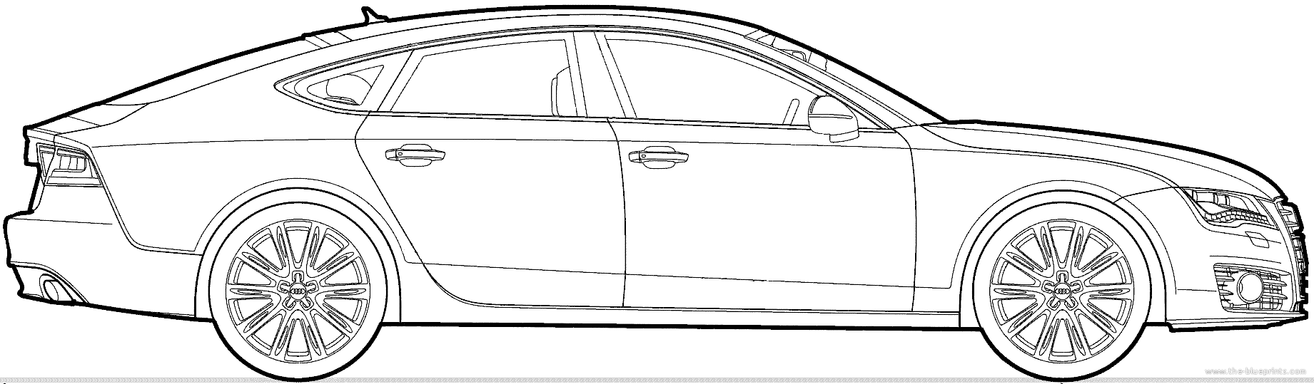 Blueprints Cars Audi A7 Sportback 2013 Automobile S7