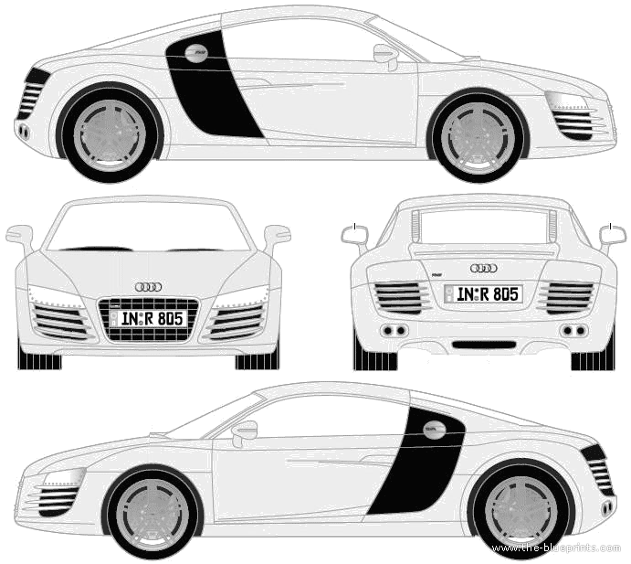 Blueprints > Cars > Audi > Audi R8 (2009