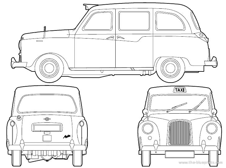 London Black Cab Drawing Austin Fx4 London Taxi 1962