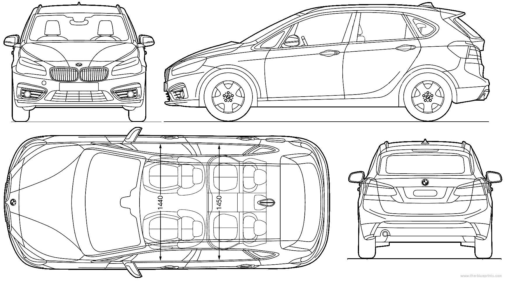 Blueprints Cars Bmw Bmw 2 Series Active Tourer 2014