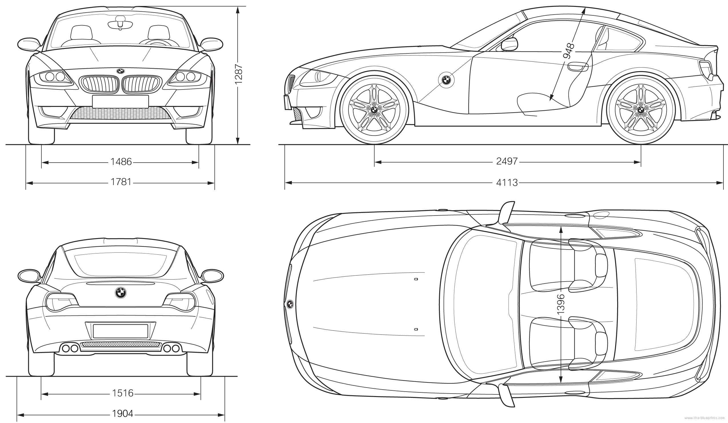 Blueprints > Cars > BMW > BMW Z4 M Coupe (E86) (2007)
