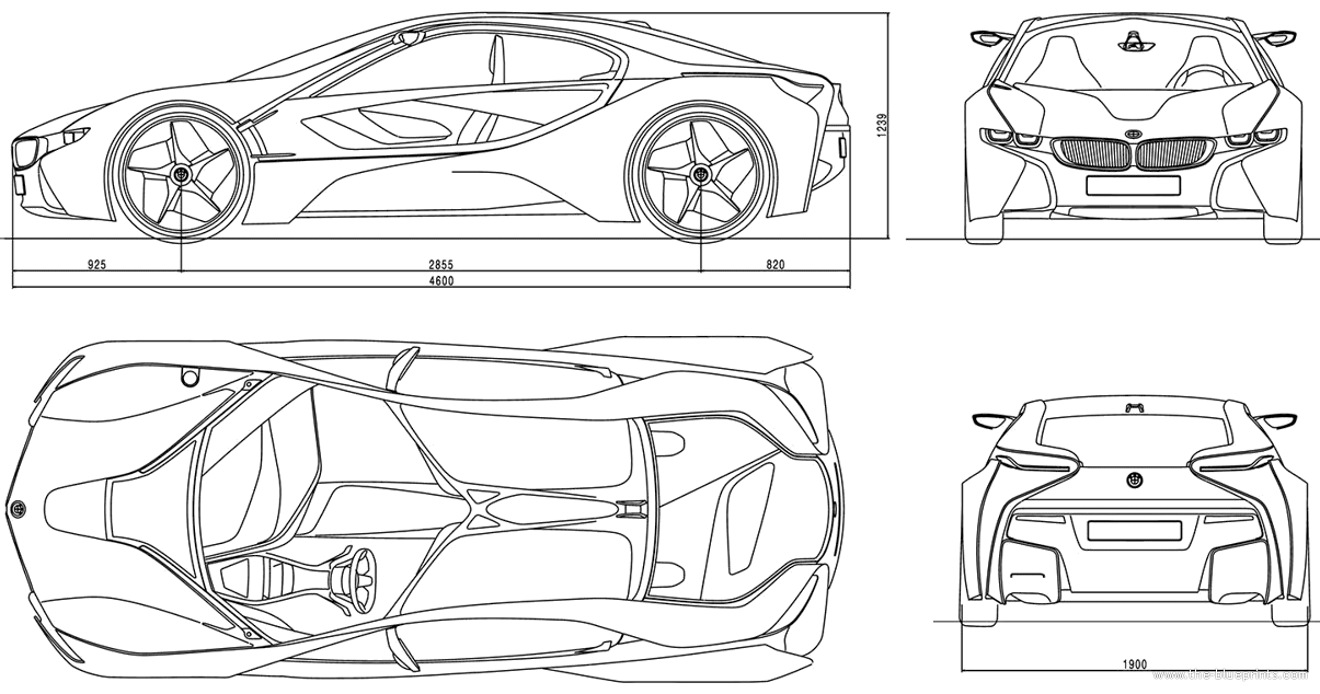Bmw I8 Blueprint Design Templates