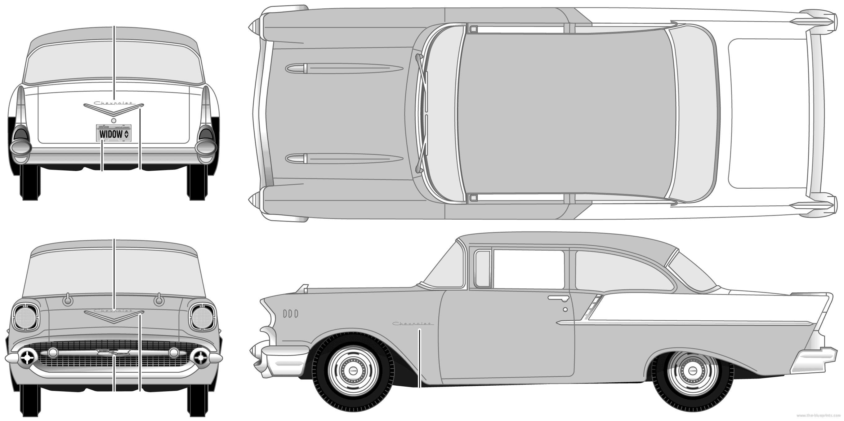 The blueprints cars chevrolet for 1957 black widow 150 two door sedan
