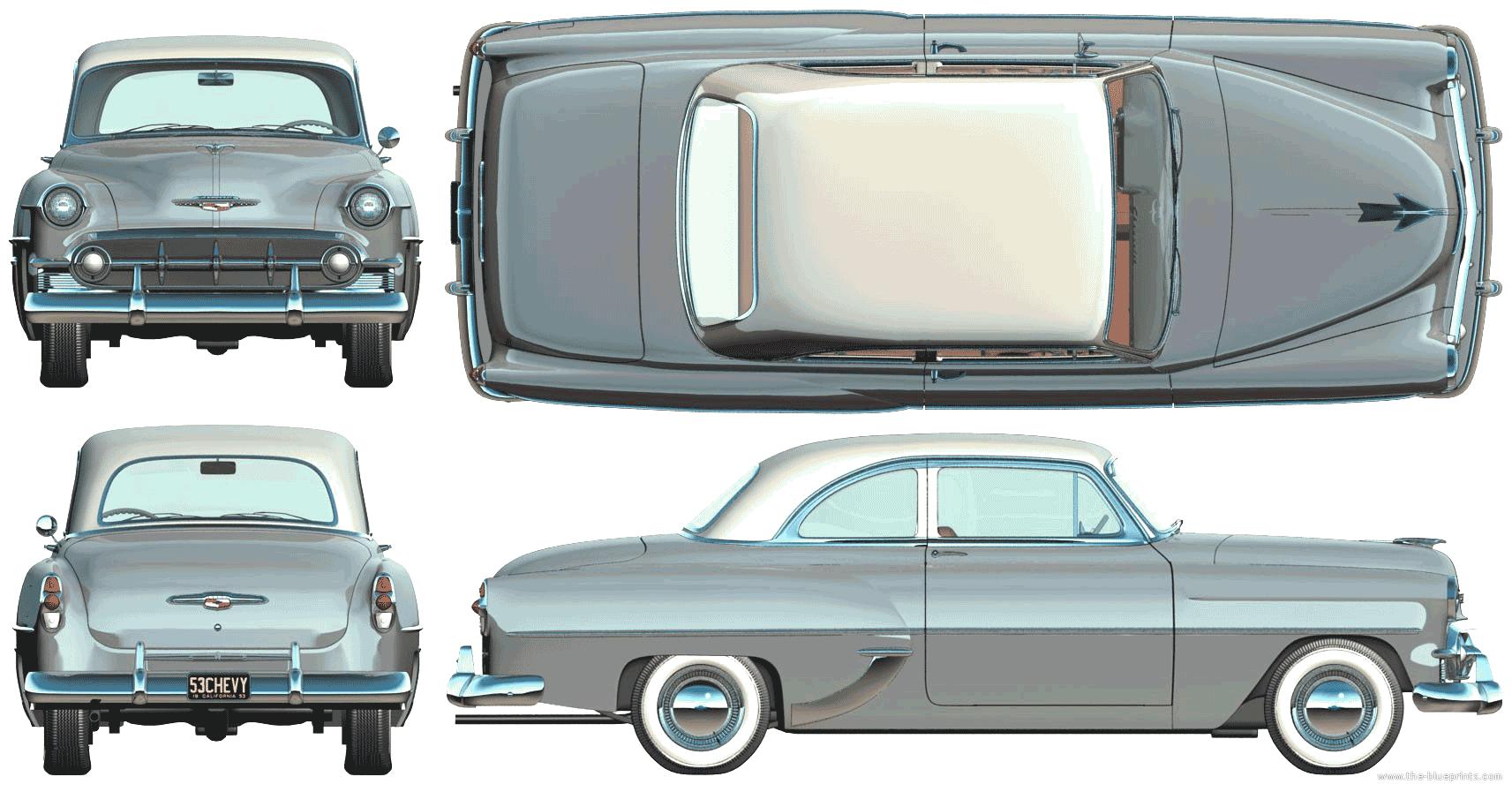 Blueprints cars chevrolet chevrolet 210 2 door club sedan 1953 chevrolet 210 2 door club sedan 1953 malvernweather Choice Image