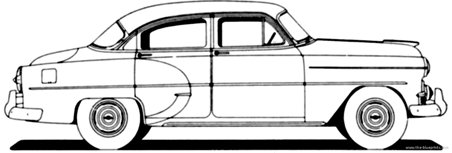 Blueprints cars chevrolet chevrolet 210 4 door sedan for 1953 chevy 4 door