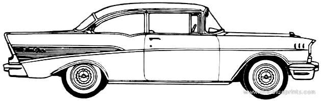 Blueprints Cars Chevrolet Chevrolet Bel Air 2 Door Sedan 1957