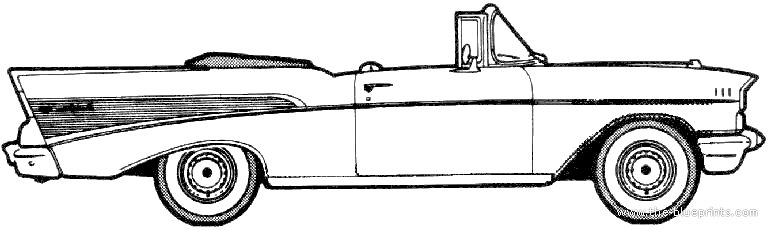 Blueprints Cars Chevrolet Chevrolet Bel Air Convertible 1957